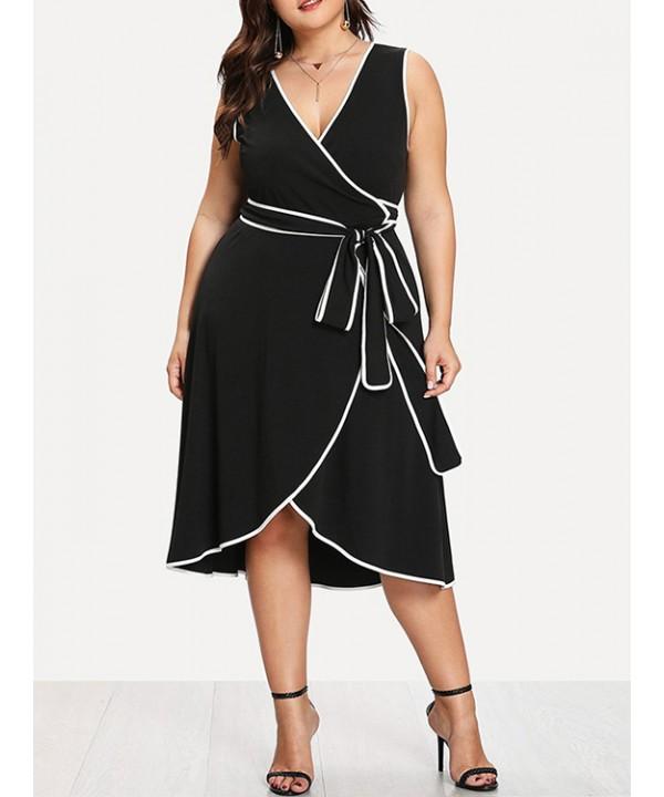 Black V-neck Sleeveless Midi Skirt