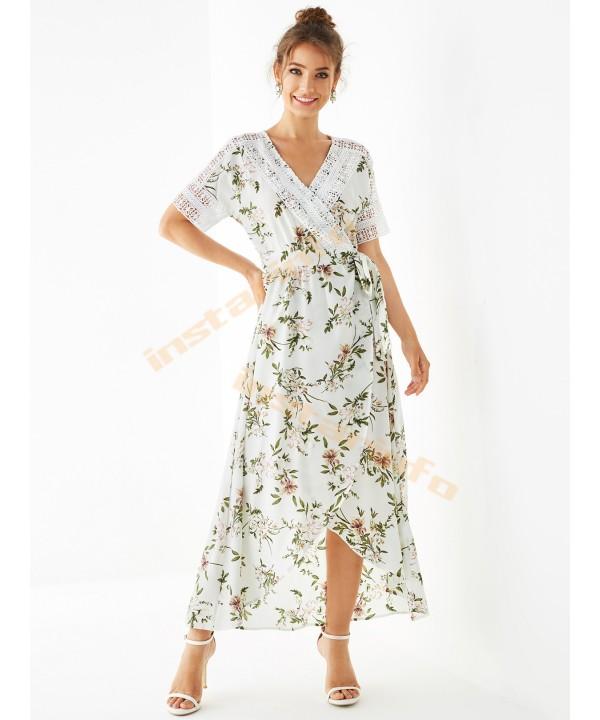 White printed V-neck short sleeve cutout midi skirt