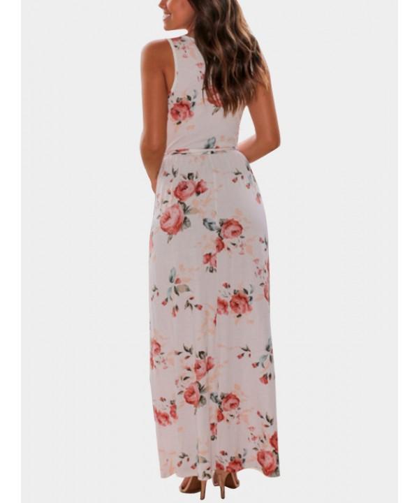 Casual printed v-neck sleeveless white dress