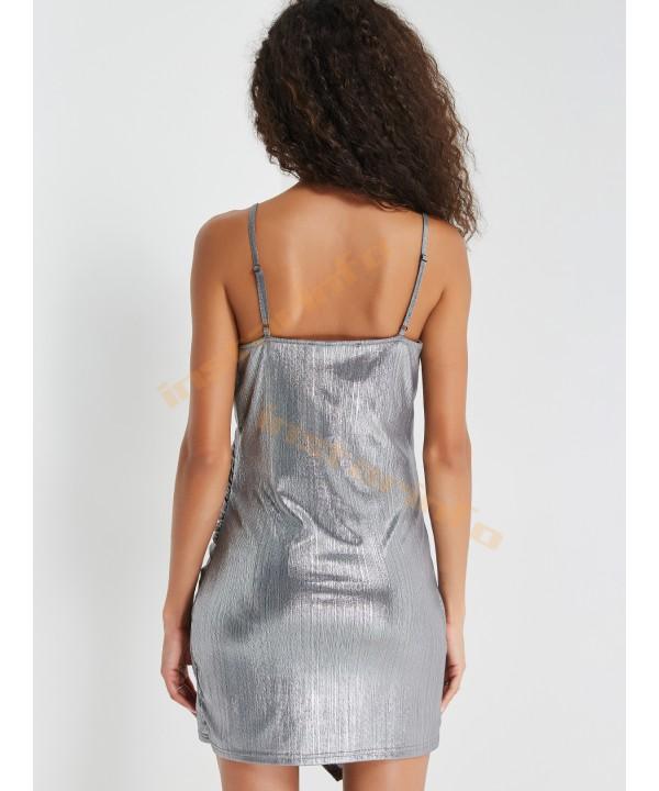 Silver Italian straps with irregularly ruffled wrap dress