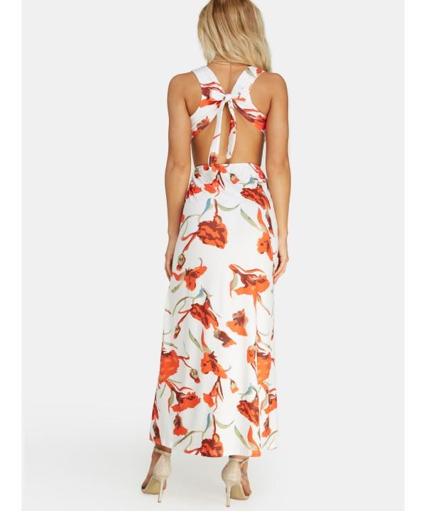 Casual print cut out deep v-neck split skirt