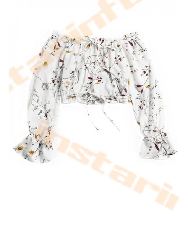 Lyum floral-print shoulder drawstring top
