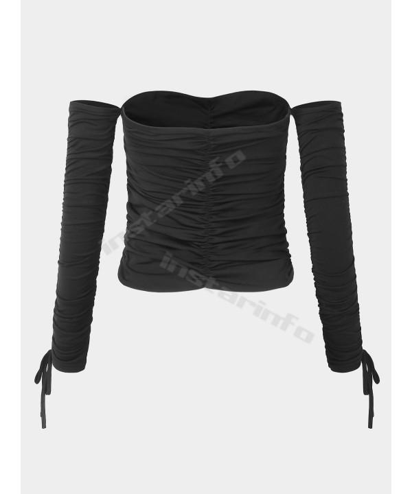 Black drawstring shirt top