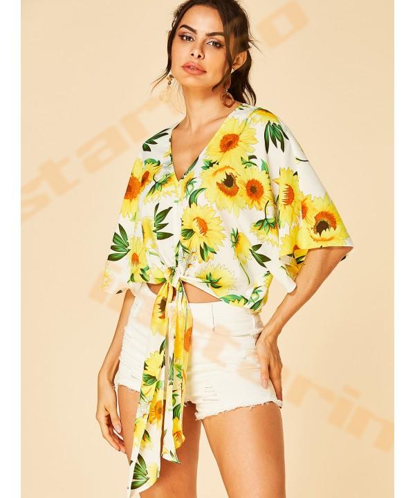 Sunflower Print V-neck Half Sleeve Knotted crop Top