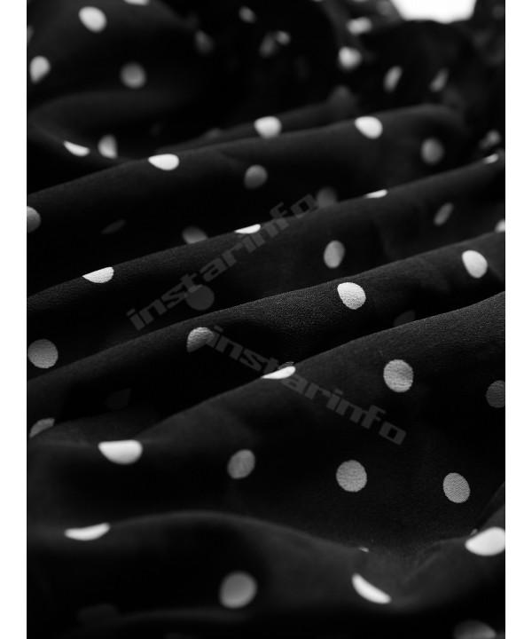 Black Off-Shoulder Polka Dot Lantern Sleeve Top