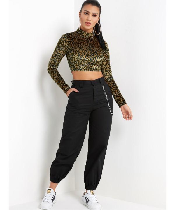 Leopard Print Neck Long Sleeveless Top in Khaki
